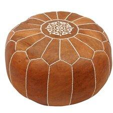 inara round pouf leather ottoman - Brown Leather Ottoman
