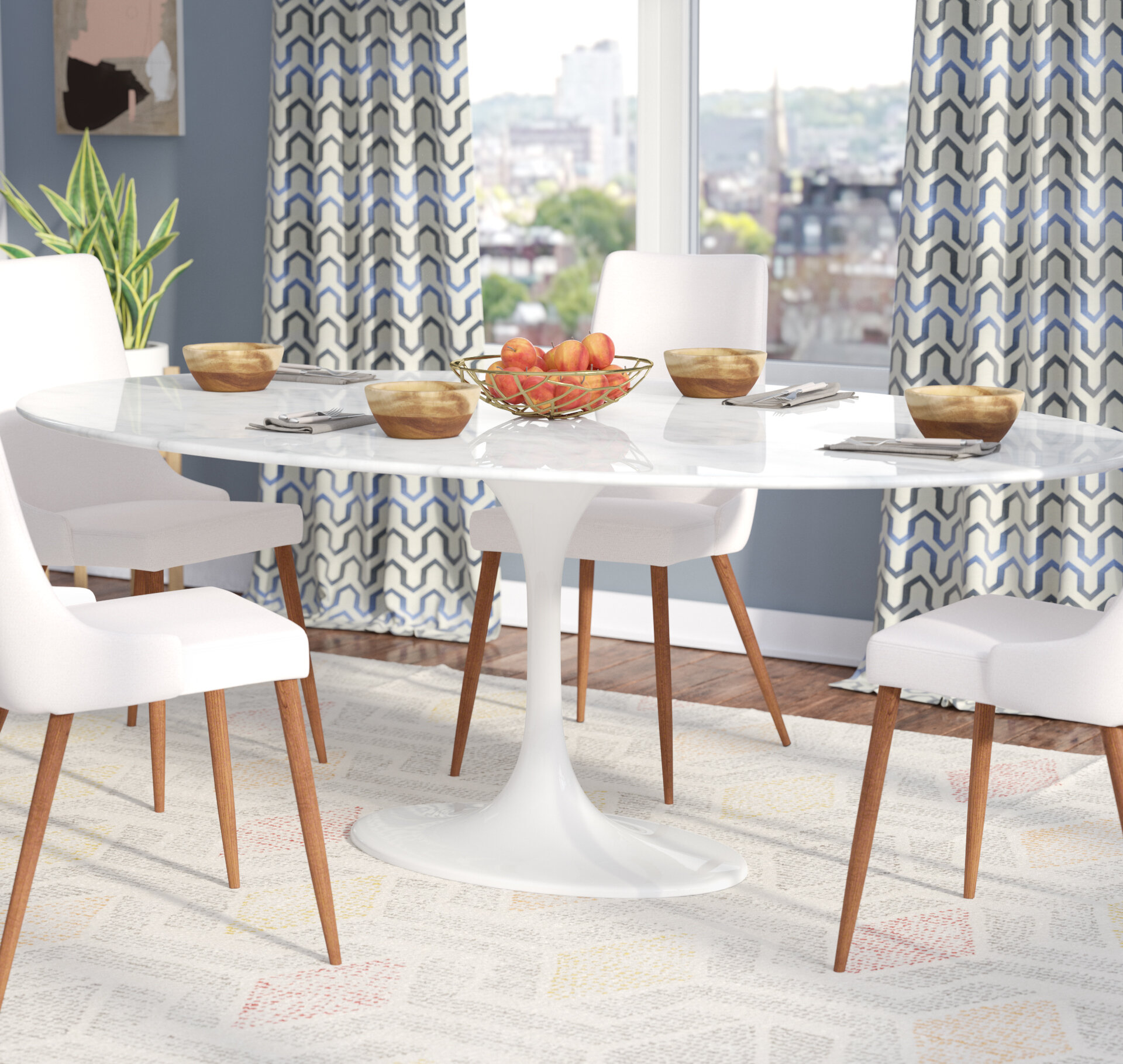 Langley street larkson white oval marble dining table wayfair