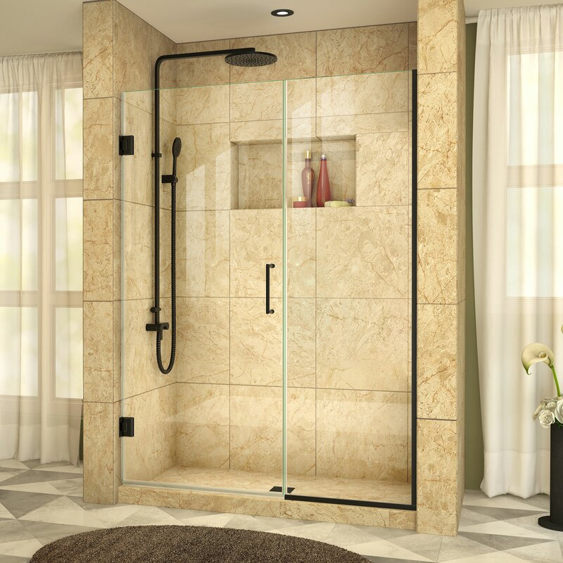 Unidoor Plus 72\  x 46\  Hinged Frameless Shower Door with ClearMax™ Technology & DreamLine Unidoor Plus 72\