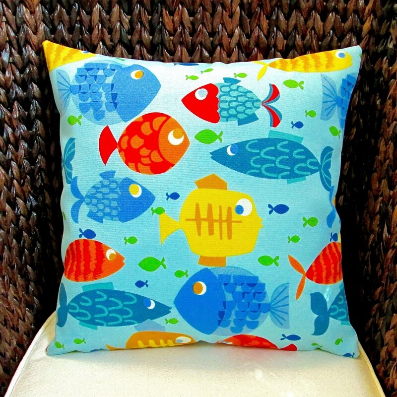 artisan pillows kid s colorful fish indoor outdoor pillow cover