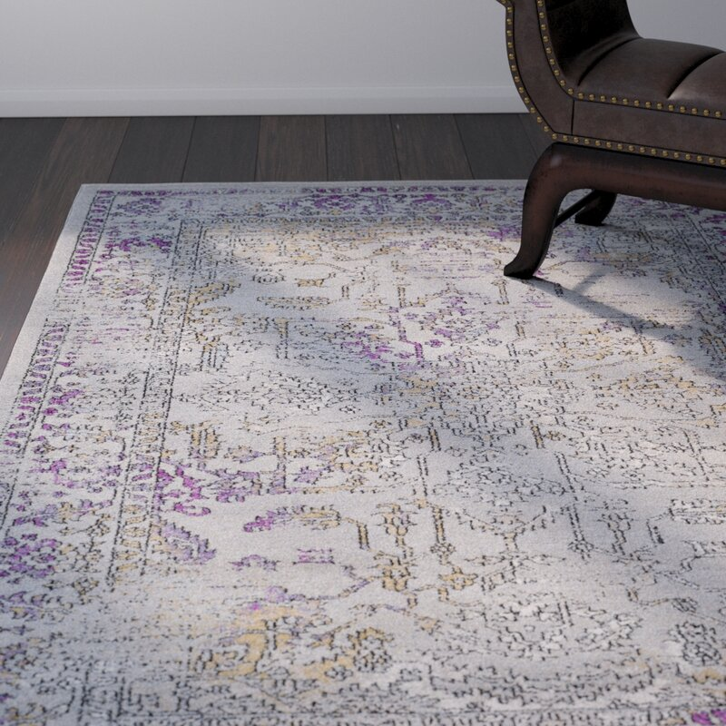 Merveilleux Cassian Taupe/Bright Purple Area Rug