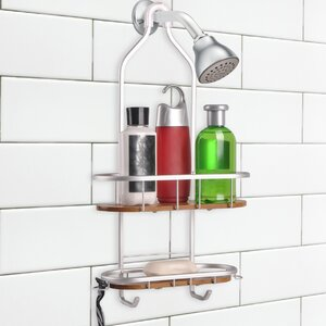 Teak 2 Shelf Rustproof Shower Caddy