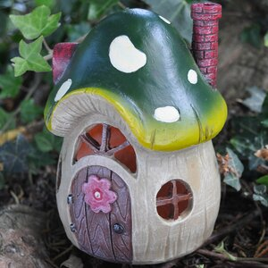 Mystical Mushroom Fairy Garden Toadstool House with LED Light Decoration