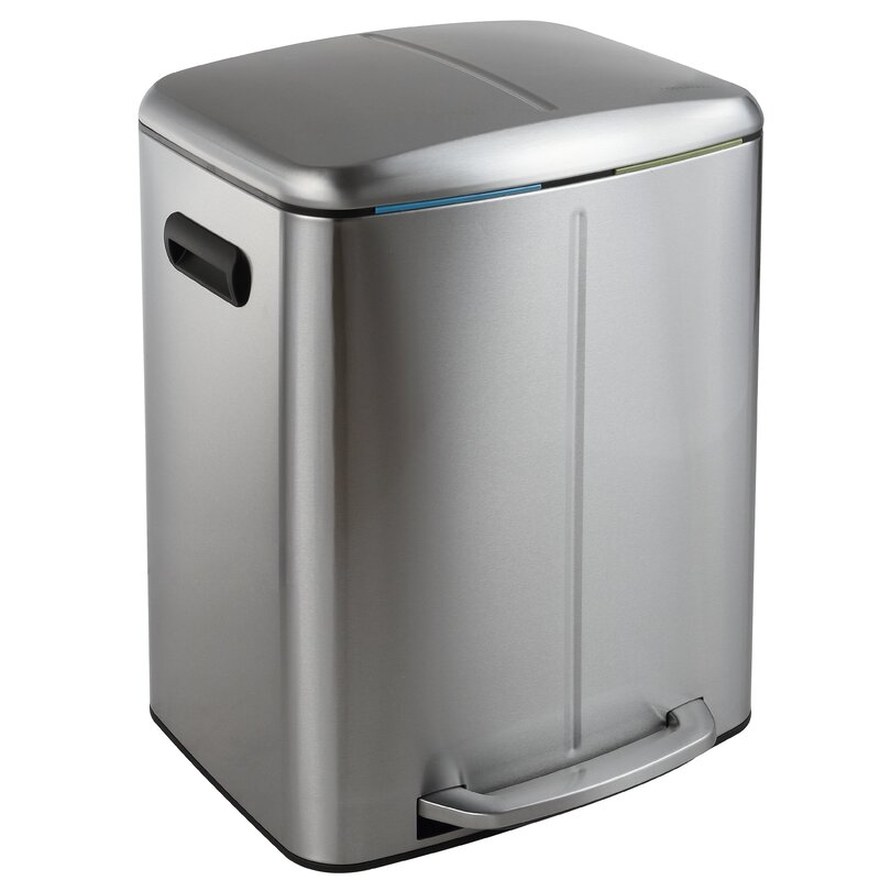happimess Marco Rectangular 10.5 Gallon Step-On Trash Can with Soft ...
