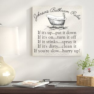 Personalized Bathroom Rules Textual Art On Canvas