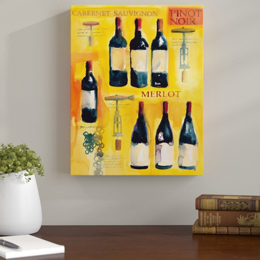 Andover Mills Red Wine Collage Graphic Art on Wrapped Canvas | Wayfair
