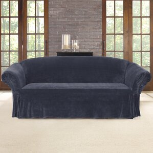Stretch Plush Box Cushion Sofa Slipcov..