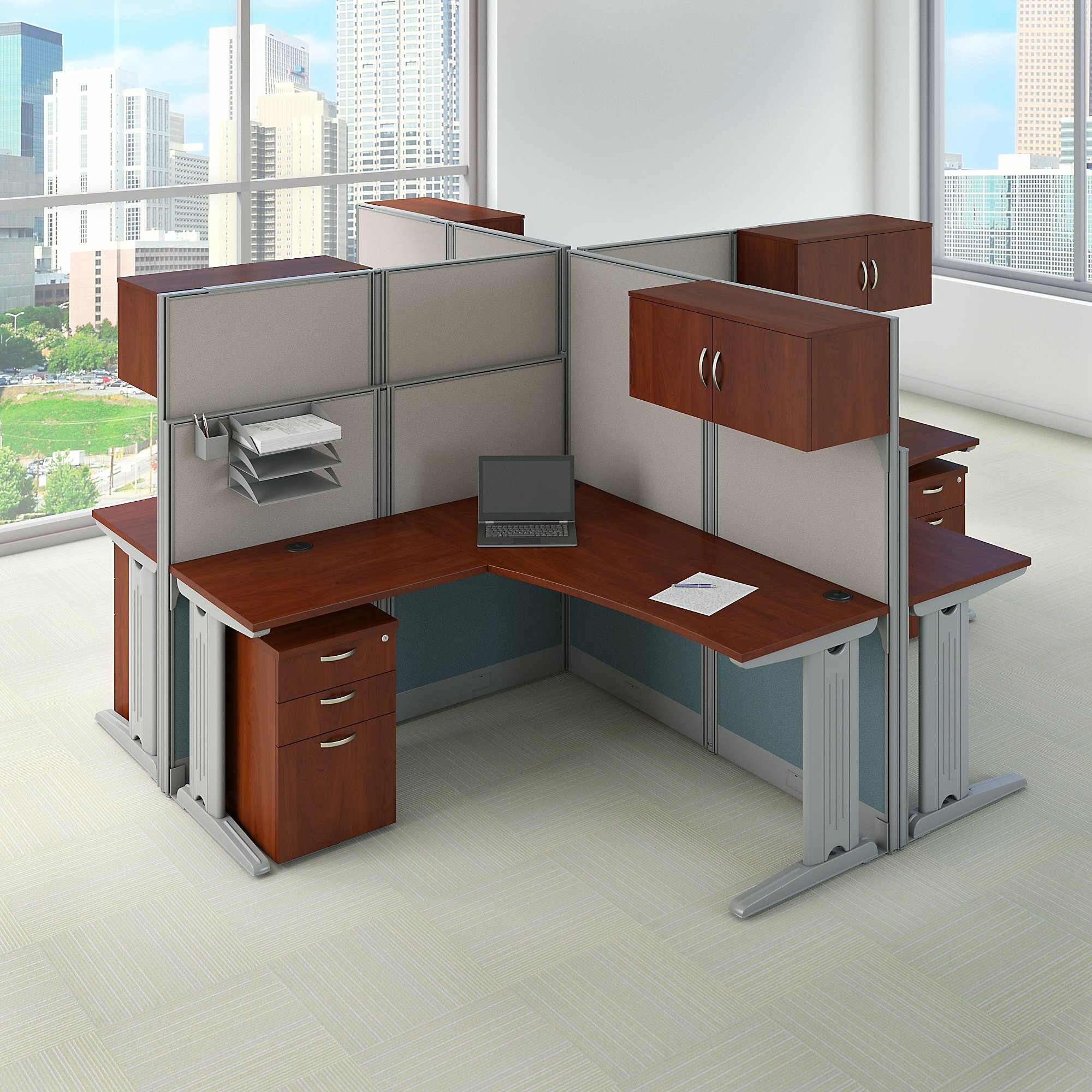 Bush Business Furniture Office In An Hour 4 Person L Shaped Cubicle Workstations Wayfair