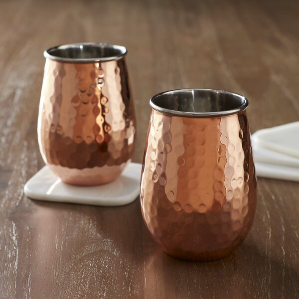 Birch Lane™ Hammered Copper 17 Oz. Stemless Wine Glass u0026 Reviews | Birch Lane & Birch Lane™ Hammered Copper 17 Oz. Stemless Wine Glass u0026 Reviews ...
