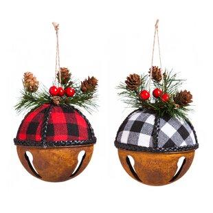 Metal Buffalo Plaid Bell Ornament Accessory Set Of 2