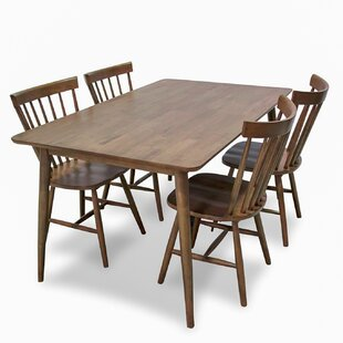 Absher 5 Piece Solid Wood Dining Set
