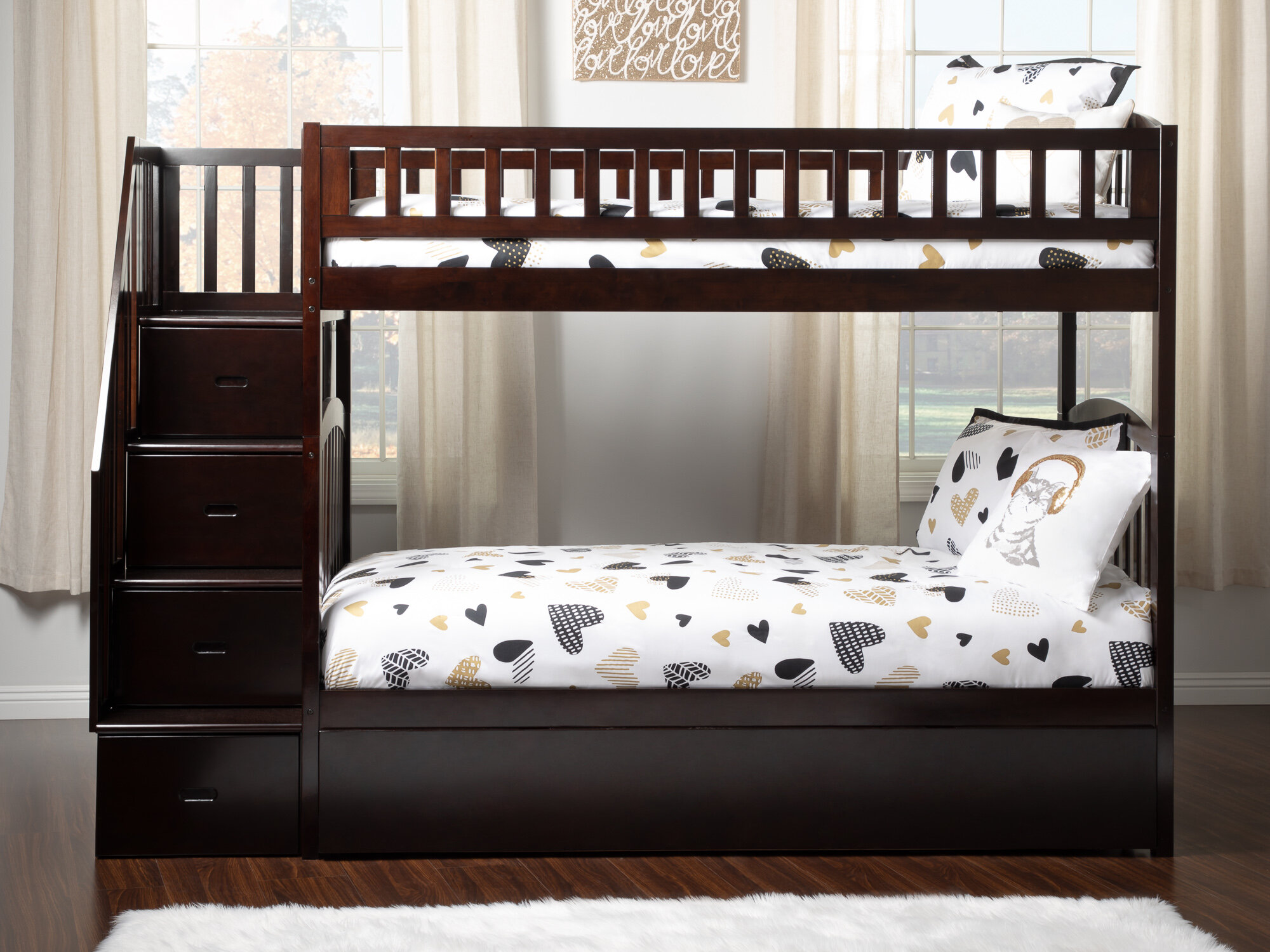 Atlantic Furniture Westbrook Staircase Bunk Twin Over Twin Bed With