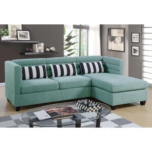 Sula Velveteen Fabric Chaise Sectional by Mercer41