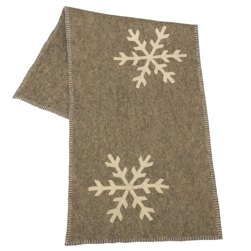 The Holiday Aisle Dedman Handmade Hand Felted Wool Table Runner with Snowflake