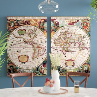 World map wall art world map 2 piece framed graphic art on wrapped canvas set gumiabroncs Images