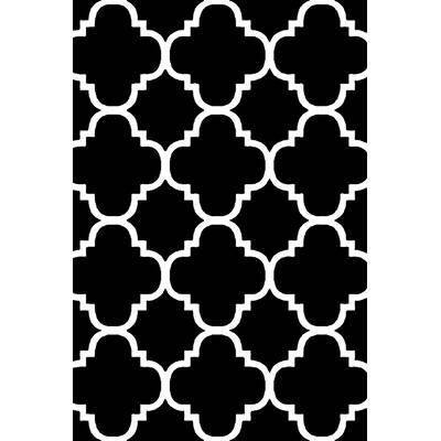 Charlton Home Standridge Moroccan Trellis Design Black White Area