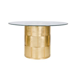 Basketweave Dining Table with Glass Top