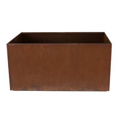"17 Stories Elisabetta Corten Steel Planter Box Casters: No, Size: 16"" H X 38"" W X 15"" D"