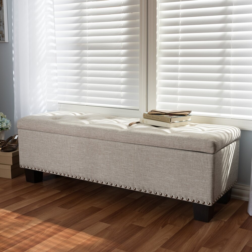 Alcott Hill Back Bay Upholstered Storage Bench U0026 Reviews | Wayfair