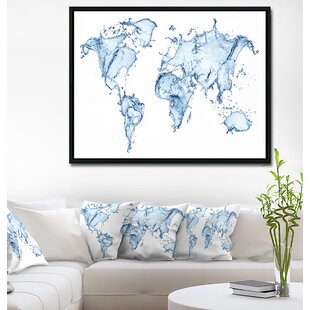 Maps wall art birch lane world map water splash framed graphic art print on wrapped canvas gumiabroncs Image collections