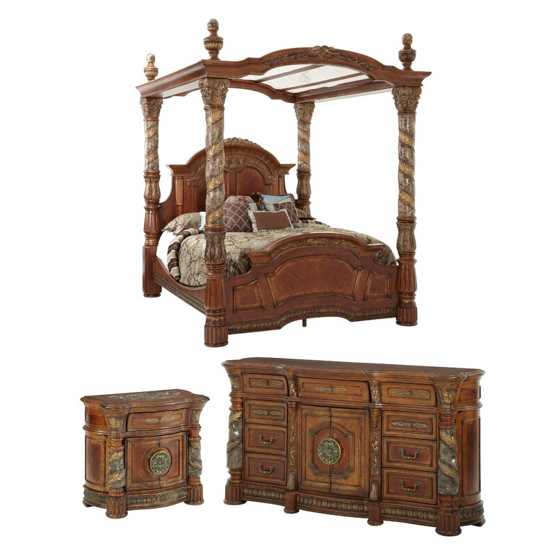 Bedroom Sets For Toddlers Bedroom Lighting Images King Canopy Bedroom Sets Youth Bedroom Furniture: Michael Amini Villa Valencia Canopy Configurable Bedroom