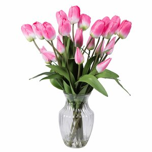 Tulips Floral Arrangement in Glass Vase