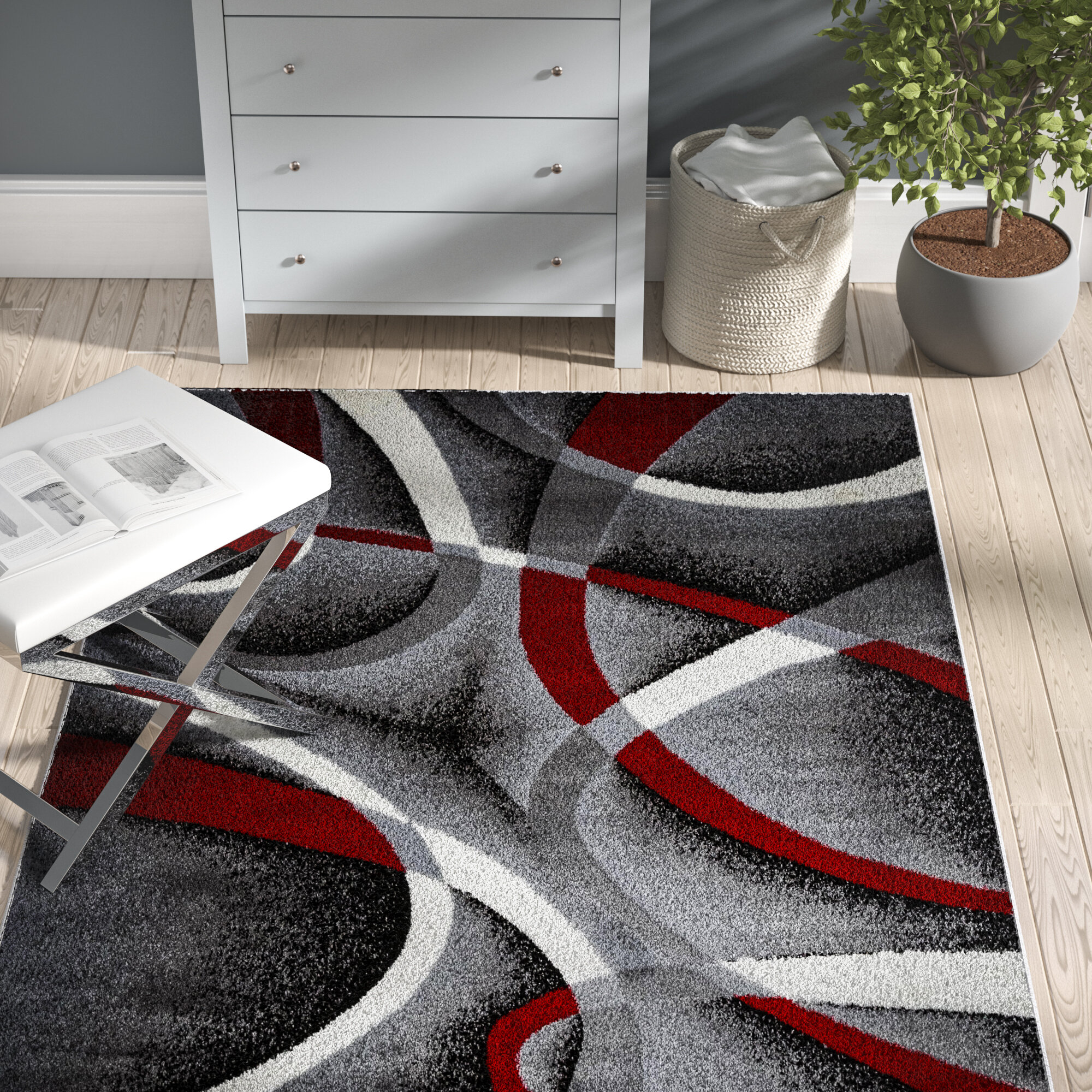 Zipcode Design Katelynn Graywine Redblack Area Rug Reviews Wayfair