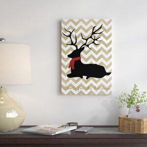 'Deer' Graphic Art on Wrapped Canvas in Black