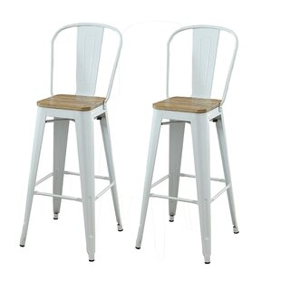 Smyth Modern Metal Frame Bar Armless Bar Stool (Set of 2)