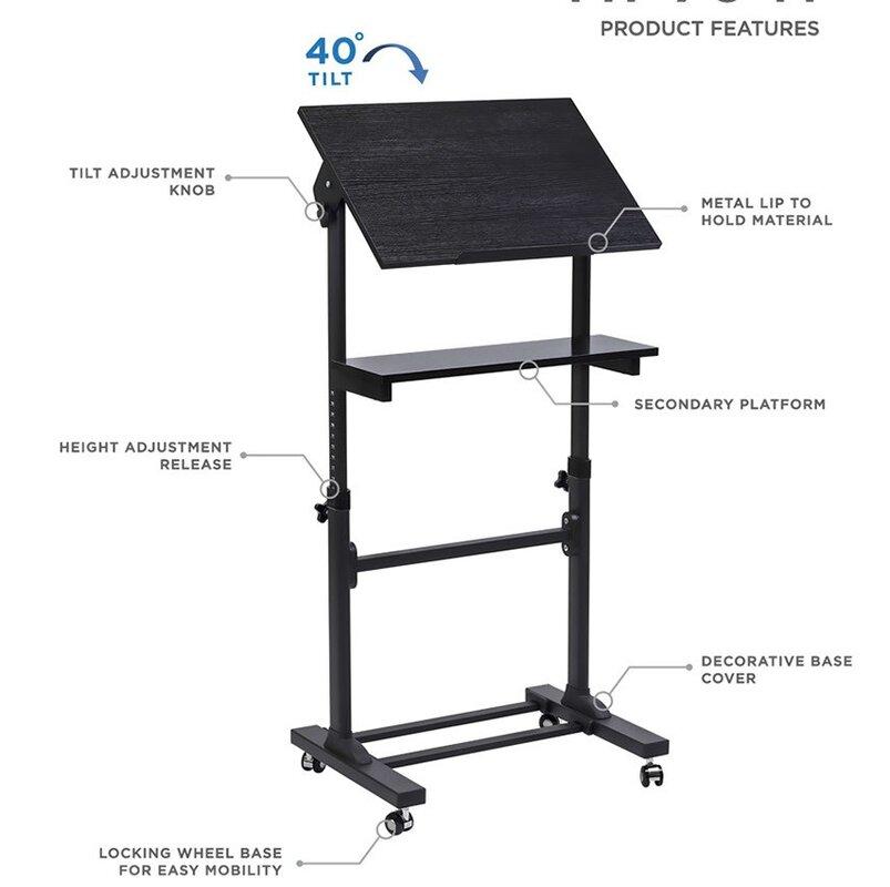 Angus Mobile Presentation Lectern Height Adjule Multi Purpose Workstation Standing Desk