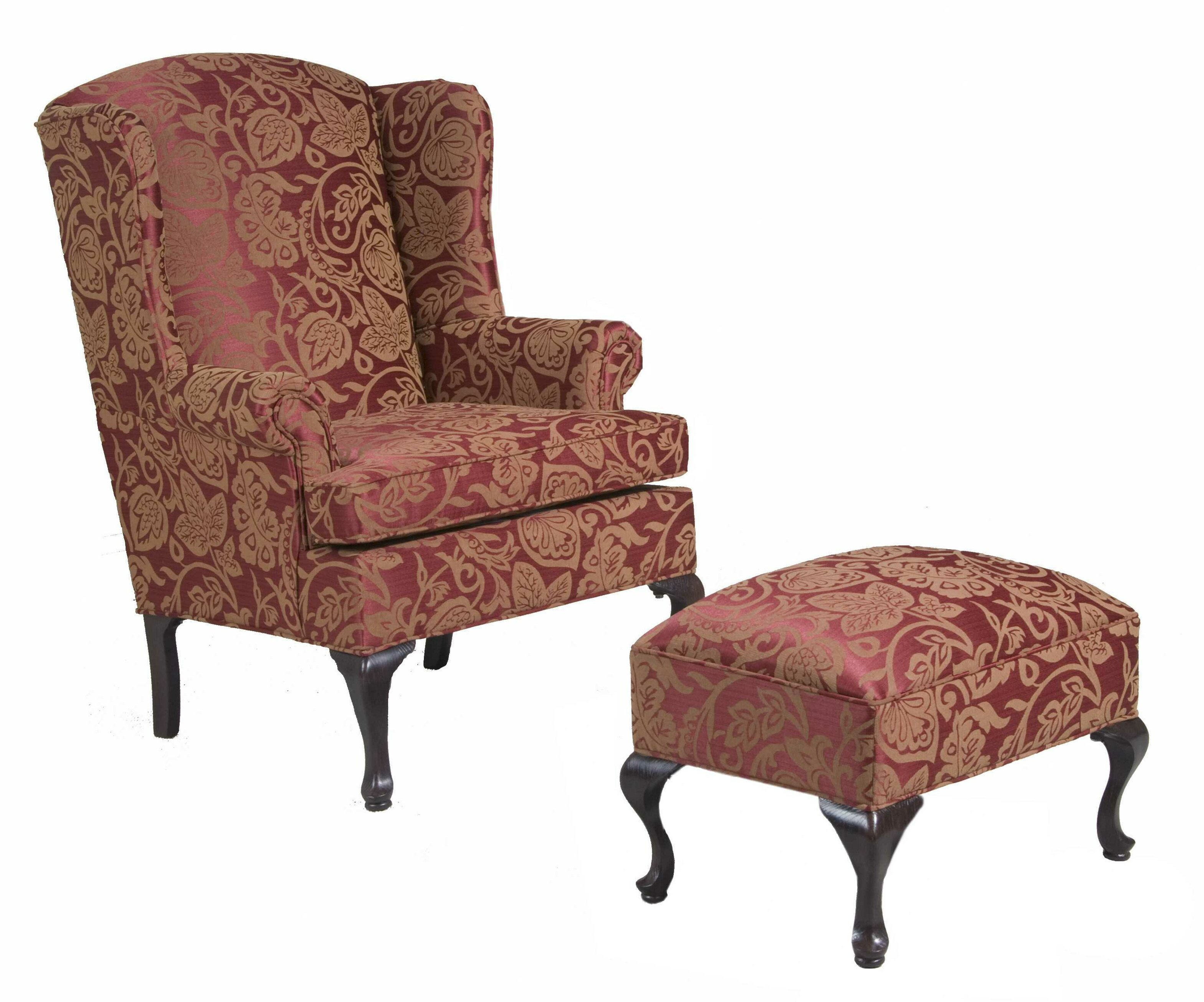 Three Posts Damask Wing Back Chair And Ottoman & Reviews