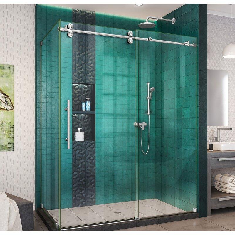 DreamLine Enigma-XO 54\'\' x 76\'\' Sliding Frameless Shower Enclosure ...