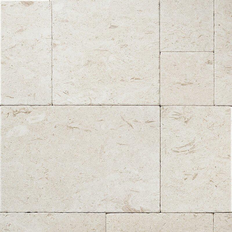 Parvatile Random Sized Limestone Field Tile In Fossil Stone Tumbled