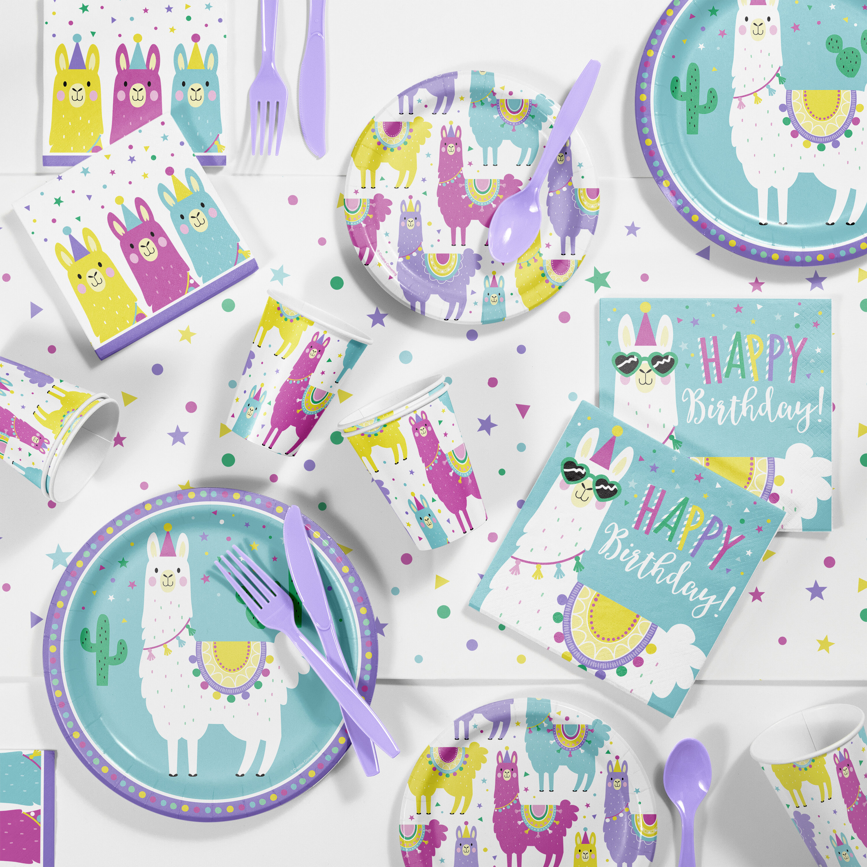 43d645142bf83 Llama Party Supplies Paper Disposable Dessert Plate