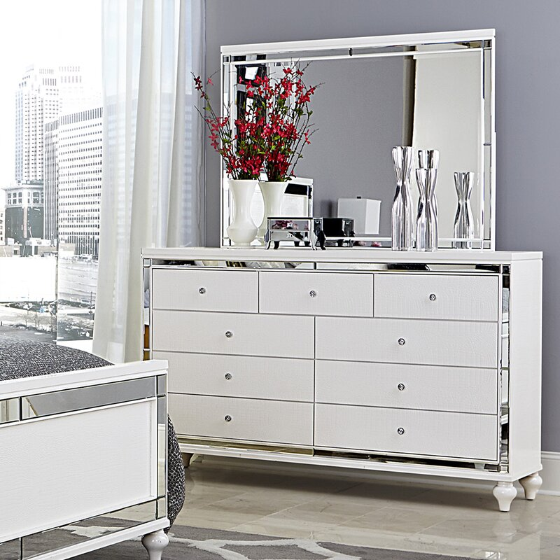 Willa Arlo Interiors Rivage 9 Drawer Dresser With Mirror Reviews Wayfair