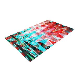 Suzanne Carter Abstract Wave Aqua Area Rug