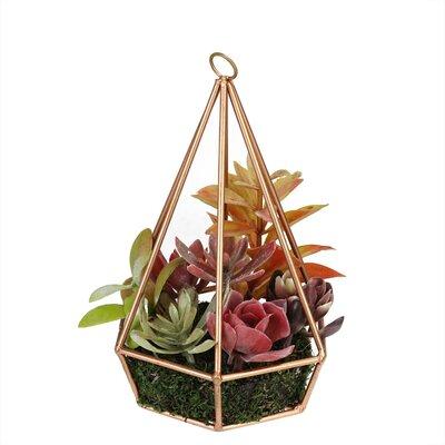 Bungalow Rose Artificial Desktop Succulents Arrangement in Decorative Vase