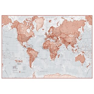 Red art prints wayfair world is art map graphic art print in red gumiabroncs Images