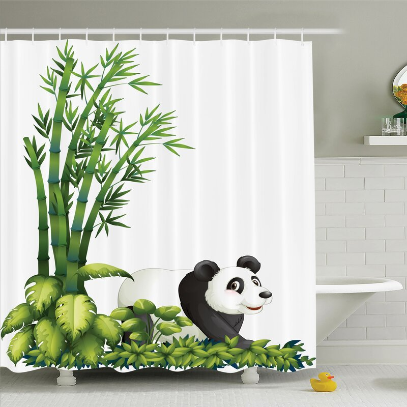 Zoomie Kids Lizbeth Cute Panda Bear Bamboo Shower Curtain Set | Wayfair