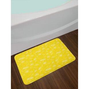 Lemons Yellow And White Bath Rug