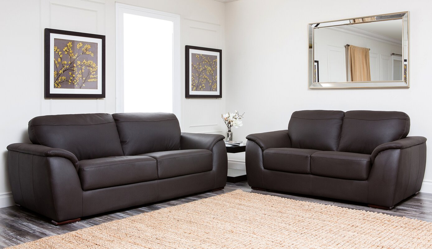 Brayden studio voyles 2 piece leather living room set reviews 2 piece leather living room set