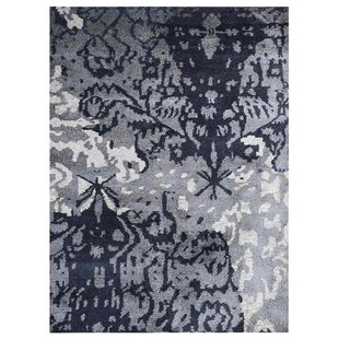 Great choice Christopher Abstract Hand-Knotted Silk Gray/White Area Rug By 17 Stories