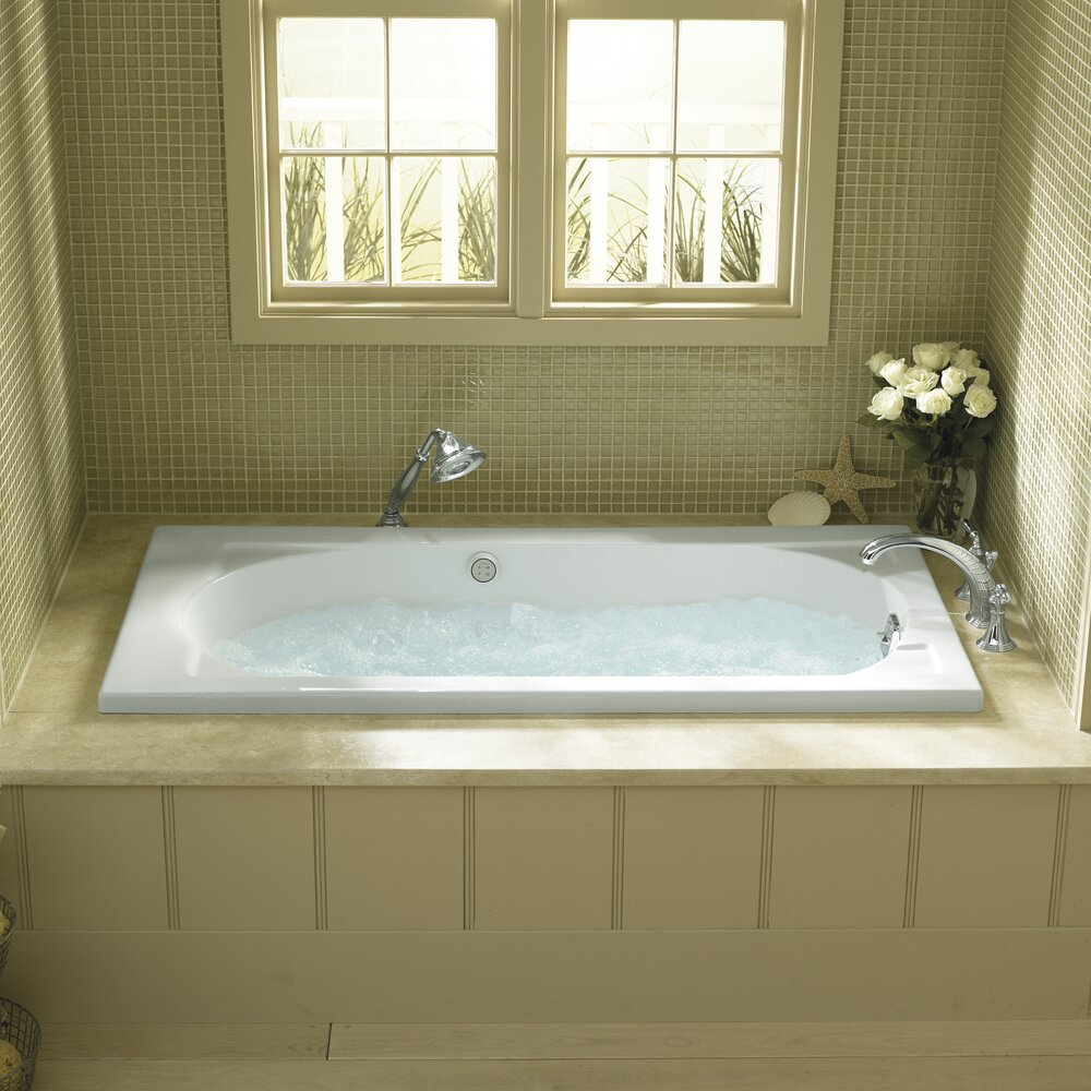 Kohler devonshire alcove 60 x 32 soaking bathtub for Alcove bathtub dimensions