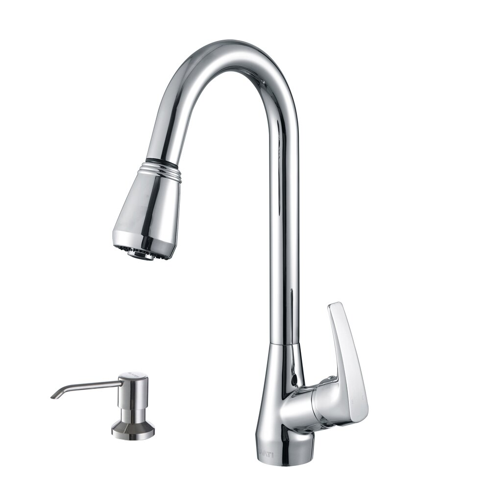 Kitchen Faucet With Sprayer And Soap Dispenser: Ruvati Turino Single Handle Kitchen Faucet With Pull Out