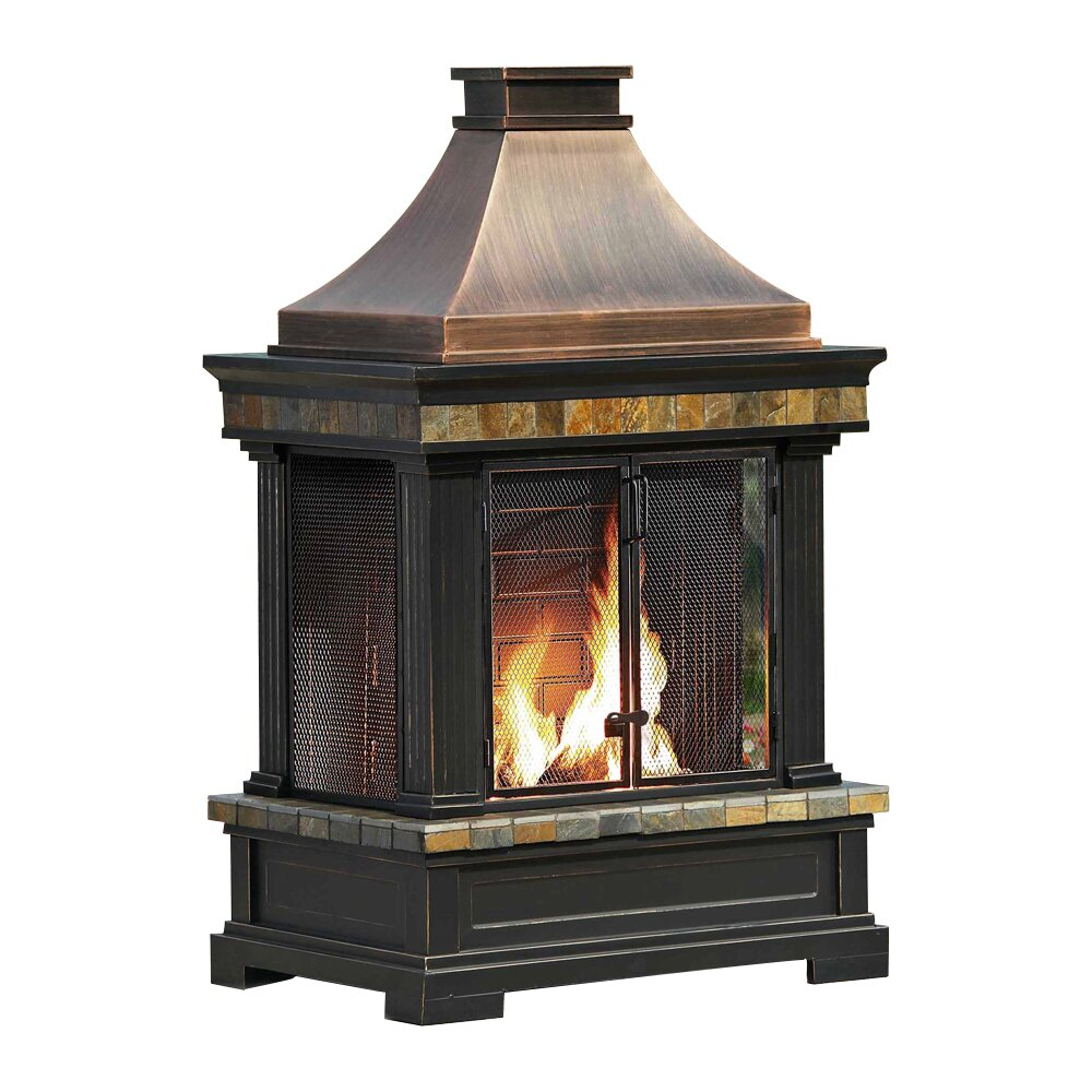 Sunjoy Brownston Steel Wood Burning Outdoor Fireplace Reviews Wayfair