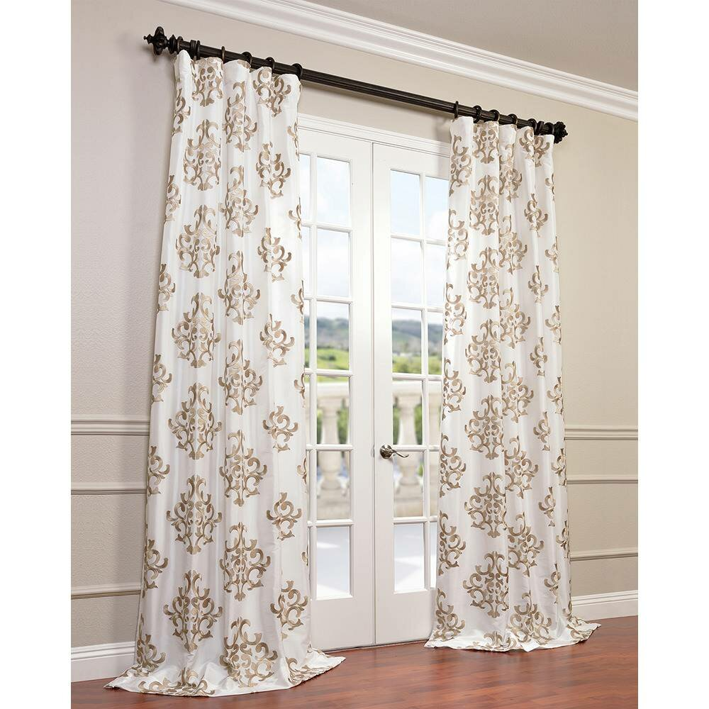 Half Price Drapes Ankara Taffeta Damask Semi Sheer Pinch Pleat Single Curtain Panel Reviews