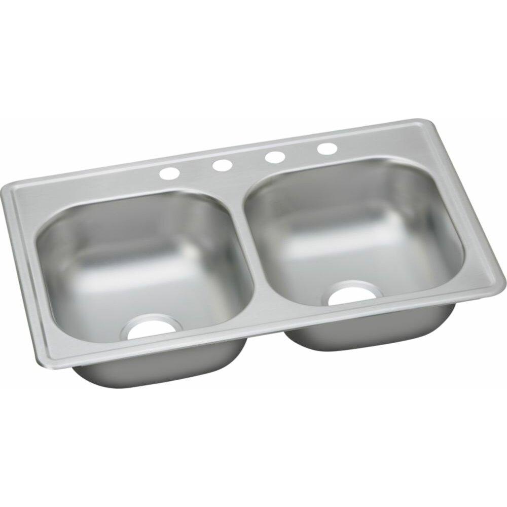 "Top Mount Sink Kitchen: Elkay Dayton 33"" X 19"" Top Mount Double Kitchen Sink"