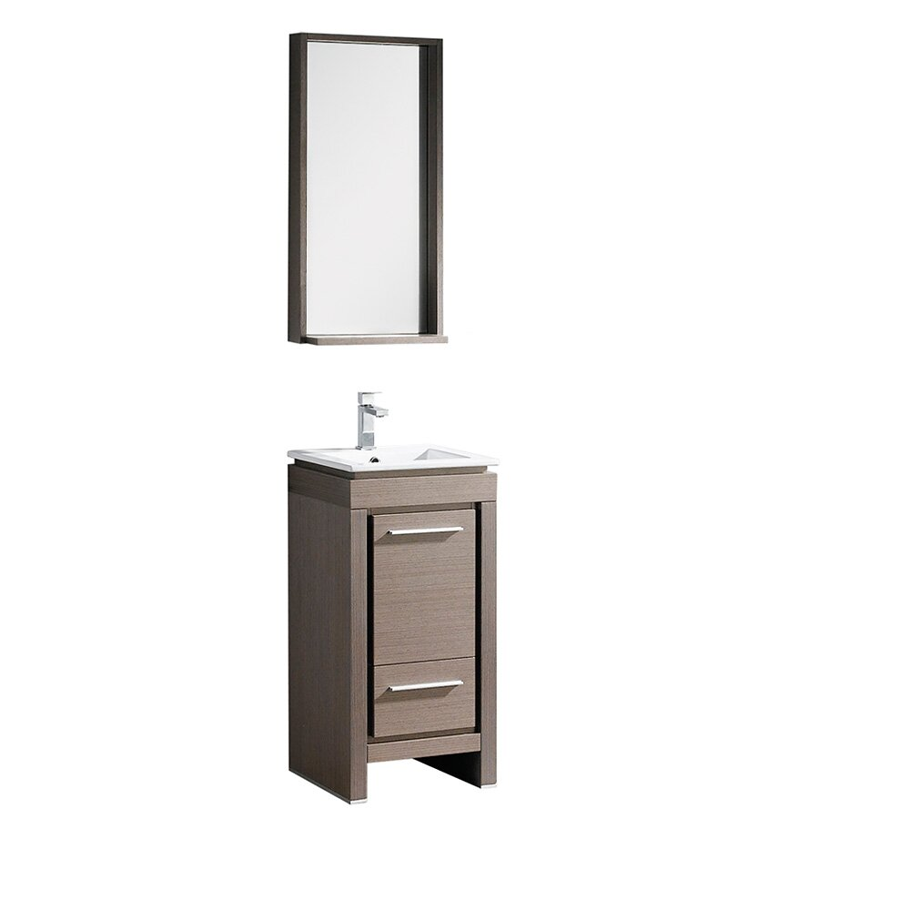 Fresca allier 16 single small modern bathroom vanity set with mirror reviews wayfair - Kona modern bathroom vanity set ...