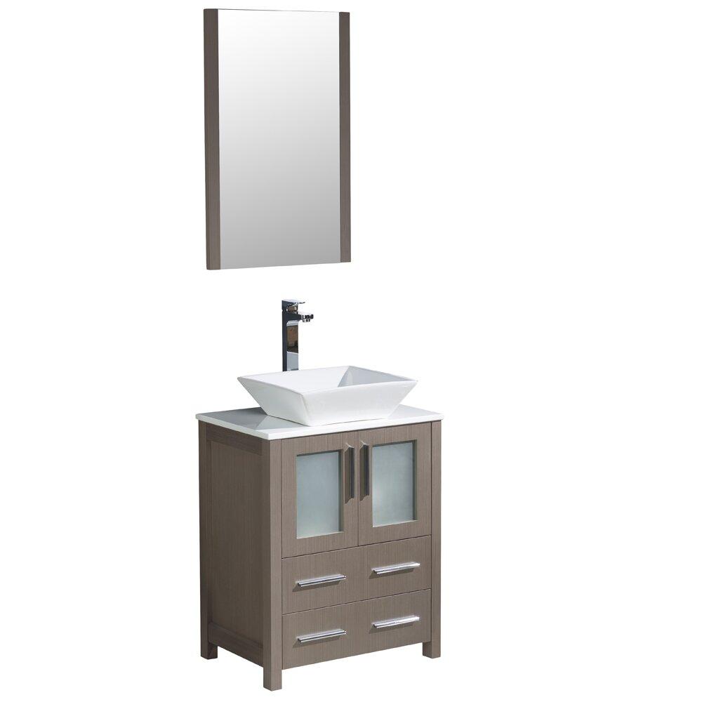 Fresca torino 24 single modern bathroom vanity set with mirror reviews wayfair - Linden modern bathroom vanity set ...