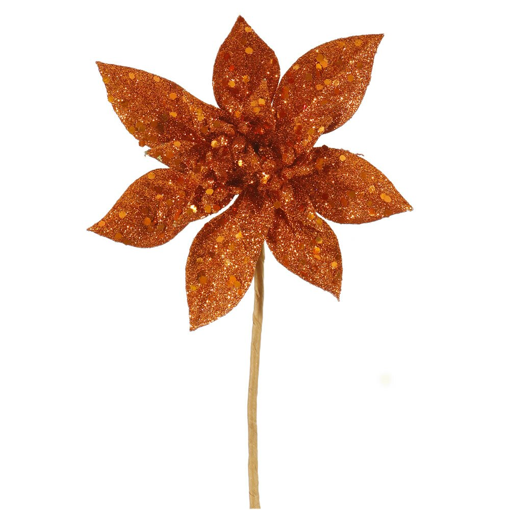 glitter poinsettia flower artificial christmas spray pick - Christmas Poinsettia